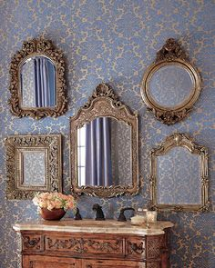 Wall Mirrors – Both Useful and Decorative – Wall Mirror Decor Decor, Mirror Decor, Mirror Gallery Wall, Mirror Inspiration, Vintage Mirrors, Vintage Mirror Wall, Wall Gallery, Home Decor, Mirror Gallery