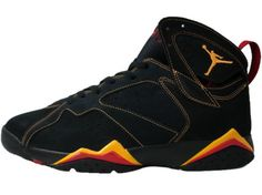 Air Jordan 7 (VII) Retro Black Citrus Varsity Red ? liked on Polyvore featuring shoes, jordans, sneakers and kicks