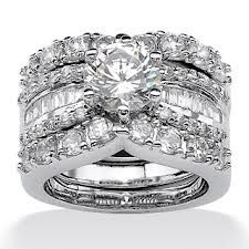 TCW Round Cubic Zirconia Platinum Over Sterling Silver Bridal Engagement Ring Wedding Band Set - Chic two-piece wedding ring set features a round and baguette cubic zirconia design coveted by today's savvy brides, offering carats T. Cubic Zirconia Wedding Rings, Diamond Wedding Rings, Bridal Rings, Diamond Rings, Zirconia Rings, Gold Rings, Solitaire Diamond, Black Diamond, Wedding Band Sets
