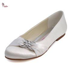 Elegantpark EP2006 Ivoire Satin Bout Ferme Arc Glitte Plates Femme Chaussures de Mariage 41 - Chaussures elegantpark (*Partner-Link)