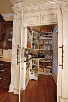 Walk-in pantry hidden behind cabinet-front - note the counter top for small appliances...