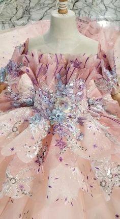 Sparkly Pink Floral Princess Dresses Little Girls Prom Dress KD1011
