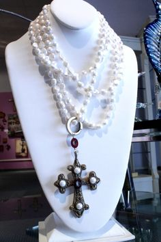 "Patti Quinn Aurora Jewelry Pearl necklace with cross enhancer pendant, 60"".  $419"