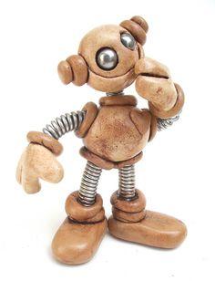 Tan Tod Mini Grungy Robot Sculpture