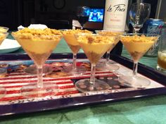 Captain Morgan cheesecake pumpkin pudding shots :)   They were a hit at Thanksgivng! I served them in tiny martini glasses and they were the perfect size!  Make sure you top with whip cream!    http://www.sheknows.com/food-and-recipes/articles/975383/boozy-pumpkin-cheesecake-shooters