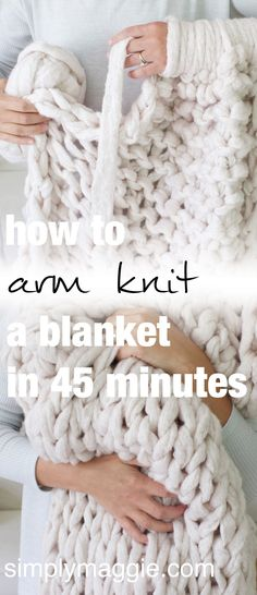 Arm Knit A Blanket In Minutes By Simply Maggie Simplymaggie ; arm stricken eine decke in minuten von simply maggie simplymaggie ; arm knit a blanket in minutes by simply maggie simplymaggie Big Yarn Blanket, Knot Blanket, Hand Knit Blanket, Chunky Blanket, Thick Knitted Blanket, Blanket With Arms, Blanket Ladder, Homemade Blankets, Arm Crocheting