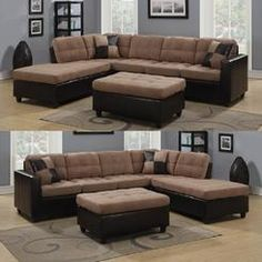Sleeper Sofas Coaster Tan Microfiber and Leather like Vinyl Upholstery Reversible Chaise Sectional Track Arms Sofa Ottoman