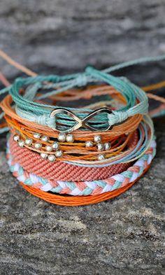 Mint and Coral Accessories #FriendshipBracelet #Bracelet #StackedBracelet #Boho #Bohemian