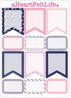Pink & Navy Banner Set for your Planner by aHeartFeltLife on Etsy