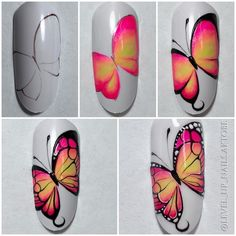 роки и МК on Instagra Nail Art Diy, Cool Nail Art, Diy Nails, Butterfly Nail Art, Flower Nail Art, Nail Art Modele, Nail Techniques, Special Nails, Glam Nails