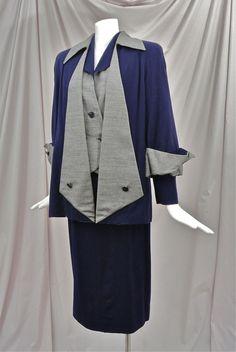 Vintage 1940's Navy Blue & Gray Two-Tone Rayon Gabardine * 4 Piece * Skirt Suit! #20thCenturySportsWear