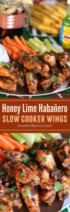 Honey lime habañero slow cooker wings! Spicy food that's perfect for football parties and tailgates!