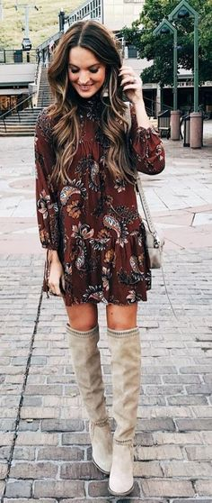 Print mini dress with suede OTK boots.