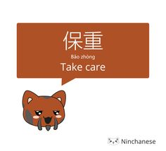 Goodbye in Chinese: take care 保重 says the cat