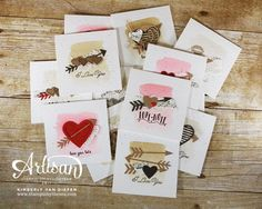 Spread the love creating these 3 x 3 Valentine note cards using the Sealed with Love stamp set,
