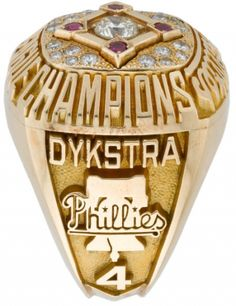 Lenny Dykstra's 1993 10K gold Philadelphia Phillies National League championship ring sporting real diamonds and rubies.