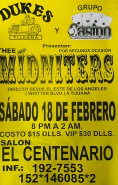 Thee Midniters - vintage flyer from Tijuana show