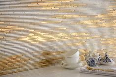 Reve, a mosaic in stone and gold glass, designed by Sara Baldwin | Aurora™ Collection | New Ravenna