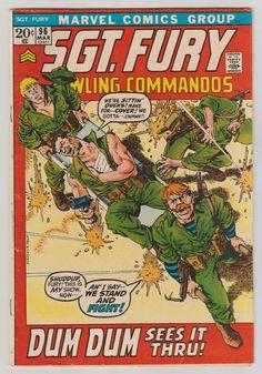 Sgt. Fury y sus comandos aulladores; Vol 1, 96, libro de historietas de la edad del bronce. FN de marzo de 1972. cubierta de Gil Kane/John Severin