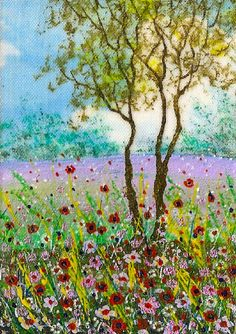"""YEARLY SALE -  ACEO Original """"Summer Time"""" Painting by Hélène Howse  #ACEOartcards"""