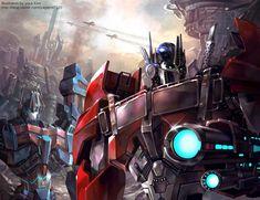 "goddessmechanic: "" War of the Cybertron - Transformers Prime version Optimus prime & Ultra magnus "" Transformers Cybertron, Transformers Optimus Prime, Transformers Memes, Transformers Characters, Transformers Bumblebee, Ultra Magnus, Arte Robot, Fanart, Tmnt"