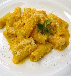 ριγκατόνι με κρέμα από πιπεριές Rigatoni, Curry, Cooking Recipes, Pasta, Chicken, Meat, Vegetables, Ethnic Recipes, Food