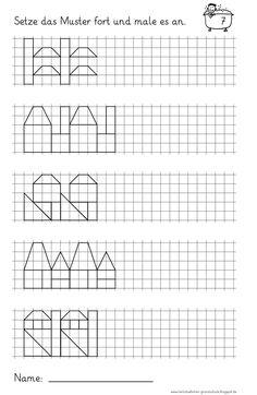 Lernstübchen: Muster fortsetzen und anmalen (3)