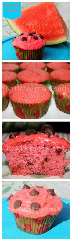 Watermelon Cupcakes are the perfect summer treat with chocolate chip cake for the seeds and watermelon buttercream frosting on top.