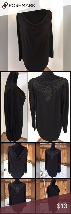 """NWOT Susie Rose XXL Black Waterfall Neckline Top ▪Prices are FIRM & include selling fees▪ 🔹Save by Bundling or Visiting my Website🔹 📌Read my Listing with """"Buying Policies"""" BEFORE purchasing items📌  New without Tags  Brand: Susie Rose Color: Black Long Sleeve Waterfall Neckline Lace Embroidered Neck in Back  Material: Polyester, Rayon, Spandex  Stretchy & Breathable Material, Lightweight Fabric In Perfect Condition  NWOT Susie Rose XXL Black Waterfall Top Armpit to Armpit 22"""" Shoulder to…"""