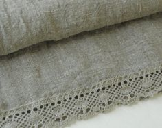 Linen and lace table runner washed wrinkled gray organic natural flax burlap runner eco friendly gift
