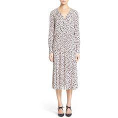 Veronica Beard 'Brenton' Midi Dress ($650) ❤ liked on Polyvore featuring dresses, nude, nude dress, midi dress, print dress, silk midi dress and print midi dress