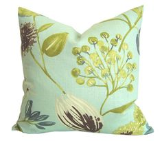 "SALE / FLORAL BLOSSOM Pillow Cover / 20"" x 20"" / Blue / Decorative Pillow / Designer Fabric / Floral Pillow Cover"