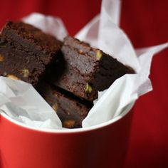 Fudgy rosewater brownies with roasted pistachios