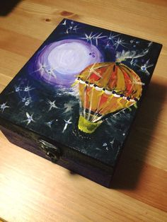 DIY colored box. Today we fly! Wooden box with one compartment fully painted with acrylic paints. Unique model.  Dimensions: 17x14x8cm