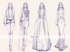 """""""Tony Ward Couture AW2014"""" New fashion illustration done in pencil from the Tony Ward Couture collection"""