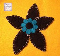 Daisy Applique, Handmade in America, Turquoise, Black