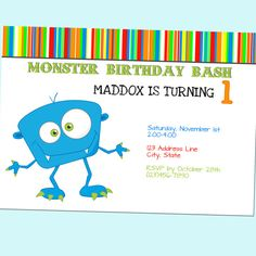 Monster Bash Birthday Invitation - Cartoon, Colorful - Printable - 5x7 by GoodHueDesigns