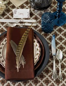 lovely for thanksgiving - reminds me of civil war era, and i love the blue with the browns