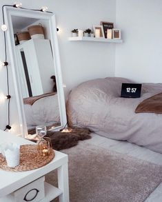 Dorm Room Decor Minimalist Minimalist Room Decor Ideas That'll Motivate You To . Dorm Room Small Bedroom Decor 3 Ways Mr Kate . 14 Dorm Room Ideas That Are Melting Our Minds RN. Home and Family Bedroom Inspo, Home Bedroom, Mirror Bedroom, Girls Bedroom, Trendy Bedroom, Modern Bedroom, Bedroom Themes, Bedroom Lighting, Design Bedroom