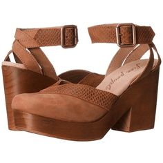 Free People Walk This Way Clog (Brown) Women's Clog Shoes ($168) ❤ liked on Polyvore featuring shoes, clogs, brown ankle strap shoes, ankle strap clogs, brown shoes, ankle strap platform shoes and ankle strap shoes