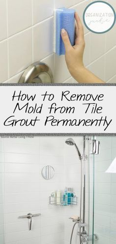Remove mold on your tile grout with these handy (and all natural) cleaning tips! Remove mold with my easy guide. Clean Shower Grout, Cleaning Shower Tiles, Cleaning Mold, Diy Home Cleaning, Bathroom Cleaning Hacks, Household Cleaning Tips, House Cleaning Tips, Diy Cleaning Products, Cleaning Solutions