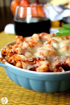 Mozechilli Casserole | Simple layers of cooked ground beef, ready-made spaghetti sauce, rotini pasta and mozzarella cheese bake into a quick and easy meal.