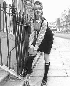 "Pattie Boyd models the ""school girl look"" that became popular after ""A Hard Day's Night"" made its debut. 60s And 70s Fashion, Mod Fashion, Fashion Models, Fashion Brand, Vintage Fashion, British Fashion, Fashion Pics, Gothic Fashion, Vintage Style"