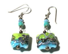 Lampwork Earrings Caribbean Blue Chartreuse by SusanHeleneDesigns, $35.00