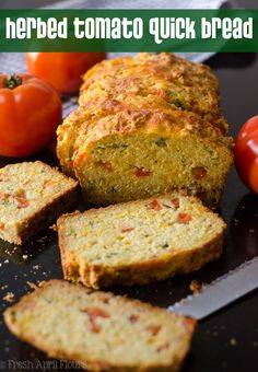 Herbed Tomato Quick Bread: A savory bread that comes together quickly using fres… Herbed Tomato Quick Bread: A savory bread that comes together quickly using fresh tomatoes and basil. Perfect for using summer produce! via Lynn [Fresh April Flours] Quick Vegetarian Dinner, Vegetarian Dinners, Savoury Baking, Bread Baking, Bread Recipes, Cooking Recipes, Vegan Recipes, Pan Rapido, Dinner Bread