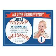 Sports Birthday Invitations Boys Baseball 1st Party Invitation Theme