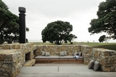 The low Te Kuiti limestone walls create privacy without the need for fences.