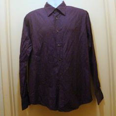 VERSACE COLLECTION Mens Size 17 1/2 / 44 Purple Patterned Cotton Dress Shirt #VersaceCollection