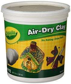 Crayola Air-Dry Clay White 5 Pound Resealable Bucket Natural Clay for Kids No Baking Dries Hard Easy to Paint A Smoother Simpler Less-Sticky Alternative to Traditional Ceramics Clay Projects For Kids, Clay Crafts For Kids, Air Dry Clay Crafts, Air Dry Clay Ideas For Kids, Art Projects, Kids Diy, Polymer Clay Crafts, Diy Clay, Crayola Air Dry Clay