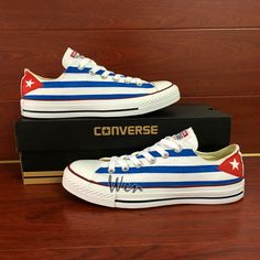 Custom Hand Painted Cuba Flag Low Top Converse All Star Sneakers Women Men  Shoes bf6cbd2a35